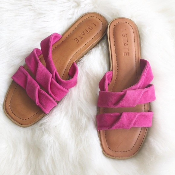1. State Shoes - NWT 1. State Frel Sandal Slides leather pink 10